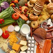 stock photo of food groups  - Overhead food background - JPG