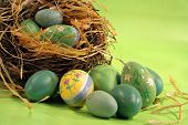 stock photo of easter-eggs  - Colorful Easter eggs - JPG