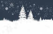 Abstract winter background with snowflakes and fir trees