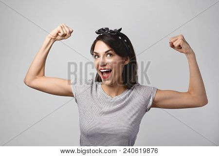 poster of People, Health, Sports And Fitness Concept. Portrait Of Excited Happy Young Fit Athletic Woman Openi