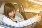 Closeup Portrait Sleepy, Tired, Close Eyes Young Woman Driving Her Car After Long Hour Trip, Sleep C poster