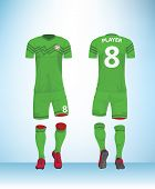 Soccer Jersey Or Football T-shirt Mock Up. Front And Back View Green Uniform. Vector Illustration. poster