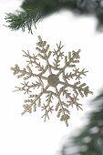 Christmas Snowflake Hanging On Fir Tree