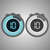 Постер, плакат: Electronic Digital Stopwatch Timer 10 Seconds Isolated On Gray Background Stopwatch Icon Set Time