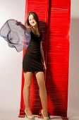 Beautiful Sexy Brunette Young Woman Wearing Black Leather Short Skirt, Fashionable Female With Attra poster