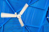Abstract photo fan on a blue