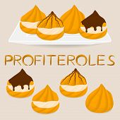 Vector Illustration Logo For Homemade Dessert Puff Cake Profiterole. Profiterole Consists Of Sweet C poster