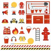 Set Of Fire Equipment. Vector Fire Man Tools . Flat Cartoon Fire Equipment Objects Isolated On White poster