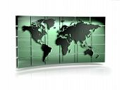 World Map On 3D Cubed Back Drop