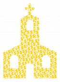 Christian Church Mosaic Of Dollars And Round Dots. Vector Dollar Signs Are Combined Into Christian C poster