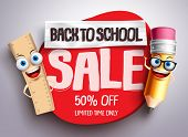 Back To School Sale Vector Banner With Funny School Characters And Red Sale Text In White Background poster