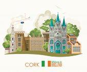 Cork City. Ireland Vector Illustration With Landmarks, Irish Castle, Green Fields. poster