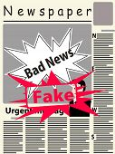 Постер, плакат: Vector Image Of The Title Page Of The Newspaper With Newspaper Breaking News The Main Image On The