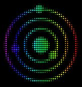Pixelated Bright Halftone Solar System Icon Drawn With Spectral Color Hues With Horizontal Gradient  poster