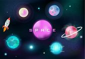 Fantasy Colorful Space Set. Galaxy Background (planets, Stars And Space Rocket, Galaxy) Cosmic Colle poster