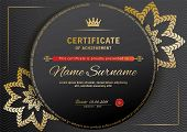 Official Black Certificate With Red Black Design Elements. Gold Emblem, Gold Text On The Black Circl poster