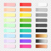 Set Of Vector Paper Bookmarks On Transparent Background. Colored Realistic Sticky Notes Isolated. Bi poster