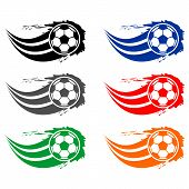 Постер, плакат: Soccer And Football Balls For Labels And Emblems Vector Elements Set Color Football Emblem Label