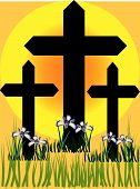 Three Easter Crosses With Irises.Eps
