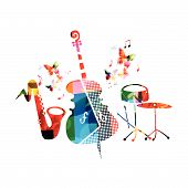 Music Colorful Background With Violoncello, Saxophone And Percussion Cymbals Vector Illustration Des poster