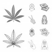 Amulet, Hippie Girl, Freedom Sign, Old Cassette.hippy Set Collection Icons In Outline, Monochrome St poster