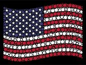 Apple Pictograms Are Organized Into Waving Usa Flag Mosaic On A Dark Background. Vector Concept Of U poster