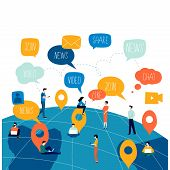 Social Network, Networking, People Connected, Global Network Flat Vector Illustration Design. Worldw poster