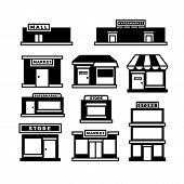 Mall And Shop Building Icons. Shopping And Retail Pictograms. Supermarket, Store Exterior Vector Bla poster