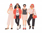 Four Young Women Or Girls Dressed In Trendy Clothes Standing Together. Group Of Friends Or Feminist  poster