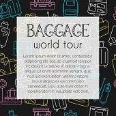 Seamless Pattern With Luggage. Different Types Of Suitcases, Bags And Backpacks On Dark Chalkboard B poster