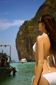 Woman in beautiful lagoon at Phi Phi Ley island