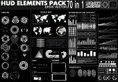 Set Hud Black And White Interface Elements, Circles, Statistic And Infographic, World Maps, Frames,  poster