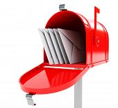 pic of mailbox  - red mailbox with mails - JPG