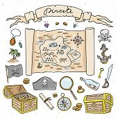 Pirate Map And Treasure Hand Drawn Illustrations. Cute Set With Pirate Symbols And Nautical Objects poster