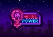 Girls Power Neon Sign. Fashionable Slogan Feminist Slogan, Neon Style Banner Light, Night Bright Sig poster
