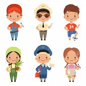 Funny Cartoon Children Characters Of Various Professions. Character Profession Child And Kids, Boy A poster