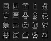 Kitchen Appliances Thin Line Icons Set. Outline Web Sign Kit Of Equipment Vector Illustration. Kitch poster