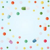 Assorted Pharmaceutical Medicine Pills, Drugs, Tablets, Capsules Vitamins. Vector Illustration On Bl poster