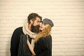 Relations Of Girl And Guy In Autumn. Man With Beard And Girl With Long Hair. Boyfriend And Girlfrien poster