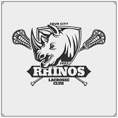Lacrosse Club Emblem With Rhino Head. Vector. poster