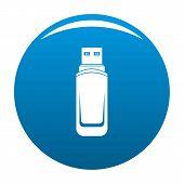 Mini Flash Drive Icon. Simple Illustration Of Mini Flash Drive Vector Icon For Any Design Blue poster