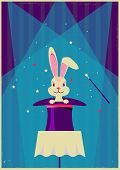 Rabbit In Magical Hat.vector Magic Show Background poster