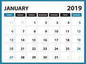 Desk Calendar For January 2019 Template, Printable Calendar, Planner Design Template,  Week Starts O poster