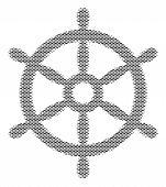 Fish Boat Steering Wheel Halftone Mosaic. Vector Fish Symbols Are Shaped Into Boat Steering Wheel Co poster