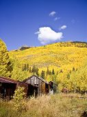 picture of colorado high country  - Old silver miners homes in high country of Ouray Colorado - JPG