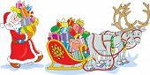 Santa carga su trineo