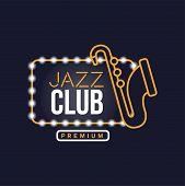 Jazz Club Neon Sign, Vintage Bright Glowing Signboard, Light Banner Vector Illustration, Web Design poster