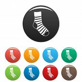 Striped Sock Icon. Simple Illustration Of Striped Sock Vector Icons Set Color Isolated On White poster