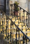 Sun Setting On Beautiful Old Staircase