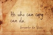 He Who Can Copy Can Do - Ancient Italian Artist Leonardo Da Vinci Quote Printed On Vintage Grunge Pa poster